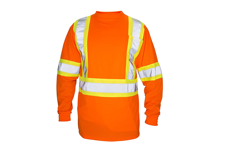Large SAS Safety 692-1609 Hi-Viz Class-2 Long Sleeve T-Shirt Orange