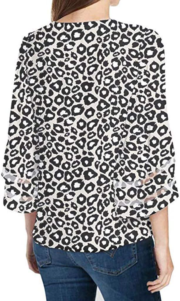 Trolimons Womens Leopard Print Top V Neck Mesh Panel Blouse 3//4 Bell Sleeve Loose Shirt