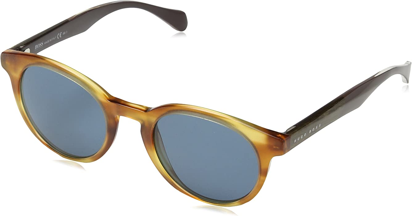 d4819d3da8 0912 S Men s Round Sunglasses. Hugo Boss B0912 S 1K19A 50mm Horn Cystal  Brown   Blue Sunglasses