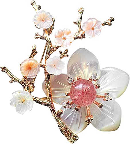 Charms Flower Tree Brooch Pin Gold Plated Full Crystal Brooches For Lady Party