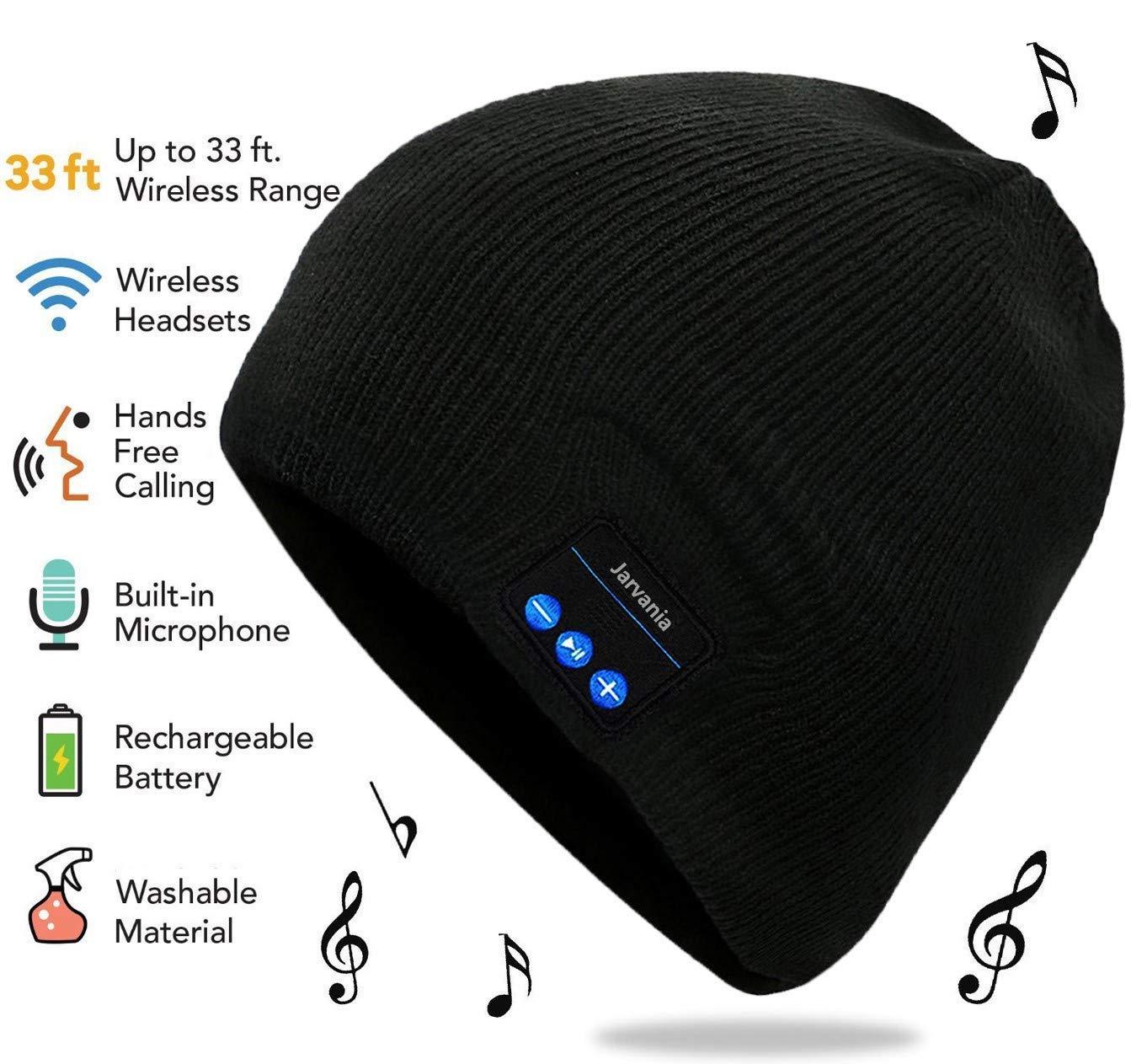 Bluetooth Beanie Hat, Wireless Headphone Beanie, Winter Knitting Beanie Cap Bluetooth Earphones, Built-in Microphone Hand-Free Calling, Gifts Both Women Men (Black)
