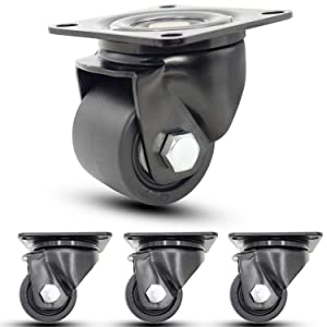 "Casoter 2.5"" Black Extra Heavy Duty Swivel Caster, 50mm Extra Width Hi-Temp Nylon Wheel Low Gravity Center Design Top Plate Mounted Caster, Smooth Sturdy 4500Lbs Total Load Capacity Caster Set 4-Pack"
