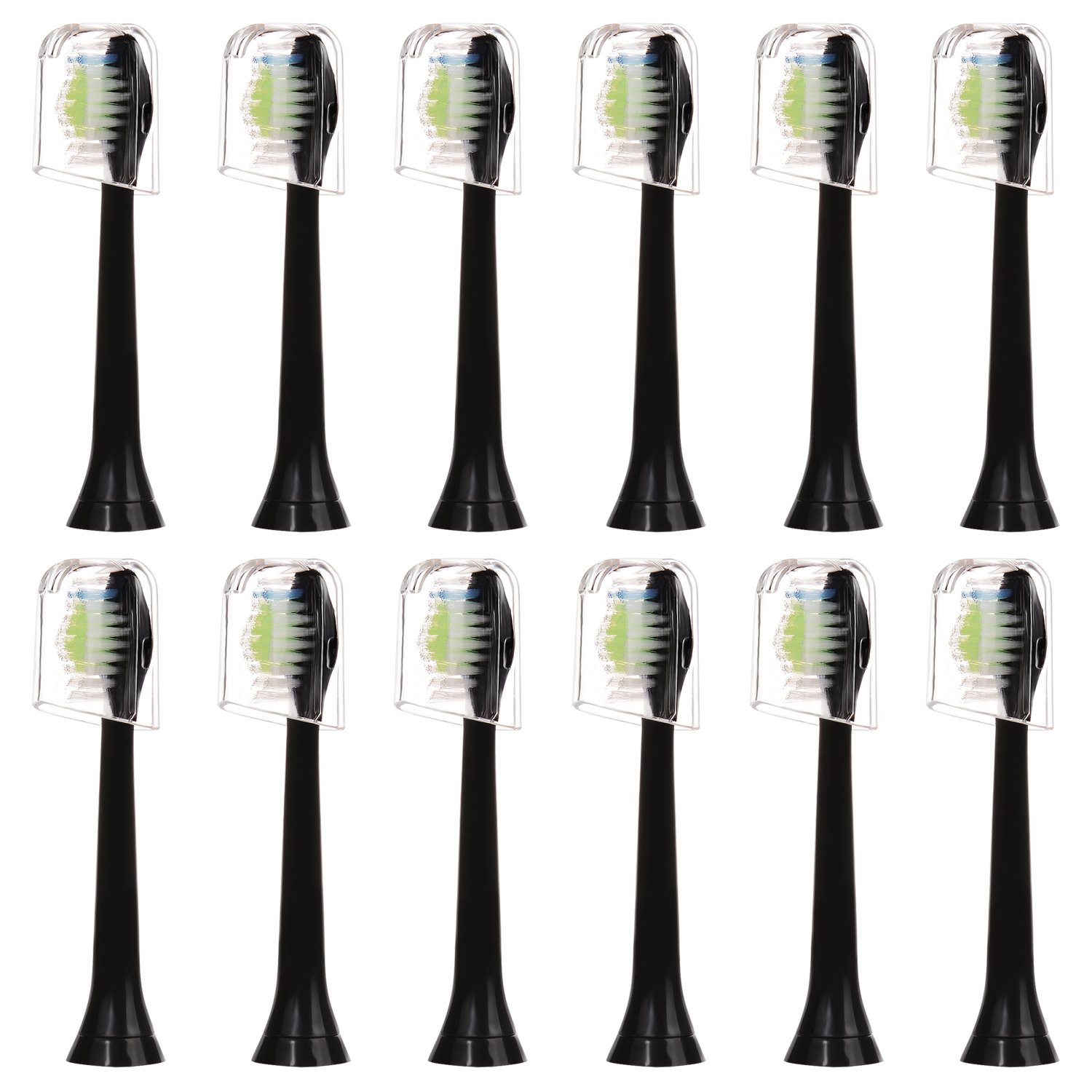 12 pcs (3x4) E-Cron® Toothbrush heads With Hygienic Travel Caps. Compatible Replacement Heads with Philips Sonicare DiamondClean Black.