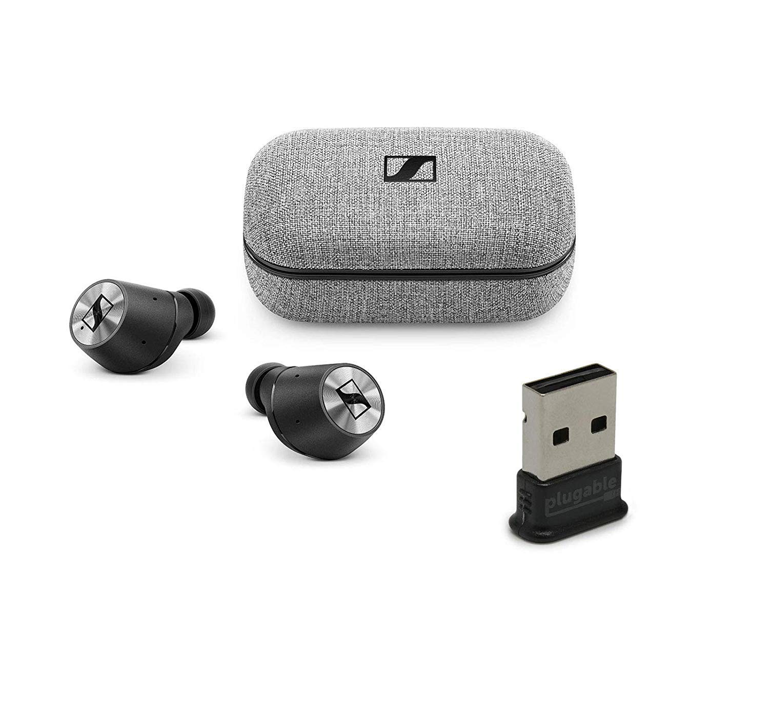 Sennheiser Momentum True Wireless Bluetooth Earbuds Bundle with USB-BT4LE USB 2.0 Bluetooth Adapter – Fingertip Touch Control