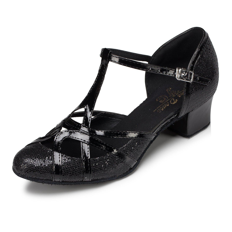 CRC Women's Round Toe T-Strap Black PU Leather Glitter Material Ballroom Morden Tango Salsa Professional Dance Shoes 9.5 M US