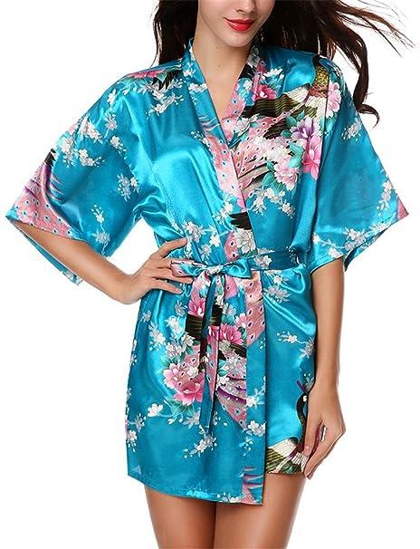 1df3254928 HonourSport Women's Peacock Kimono Short Robes Silk Wrap Dress Jacket Black  Beach Dressing Gown Japanese Ladies Cardigan White Plus Size Red Cover Up  ...
