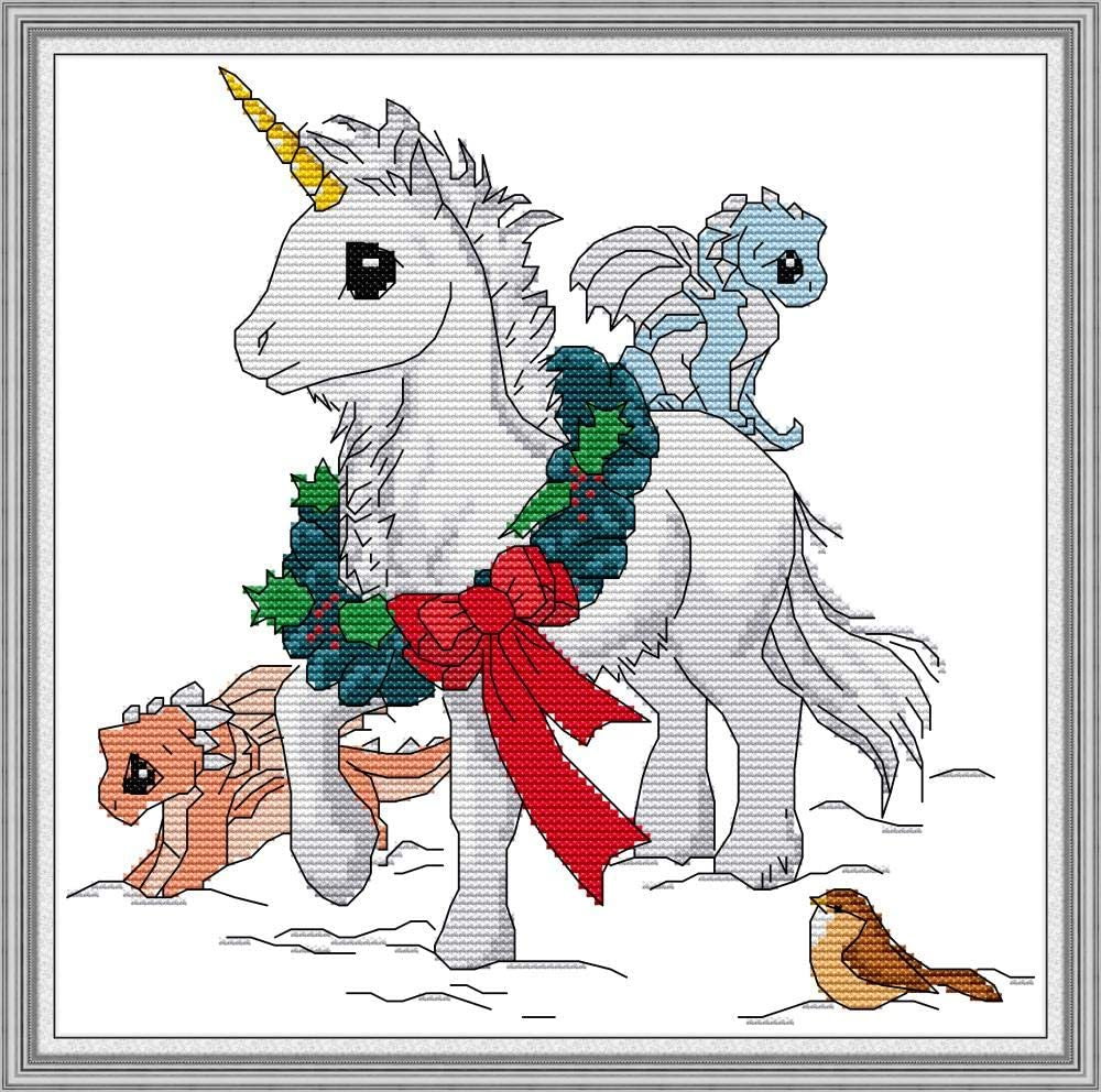 14 Count Pre-Printed Cross-Stitching Starter for Beginners 30 x 29 cm DIY Sewing Crafts Unicorn Stamp Cross Stitch Kits