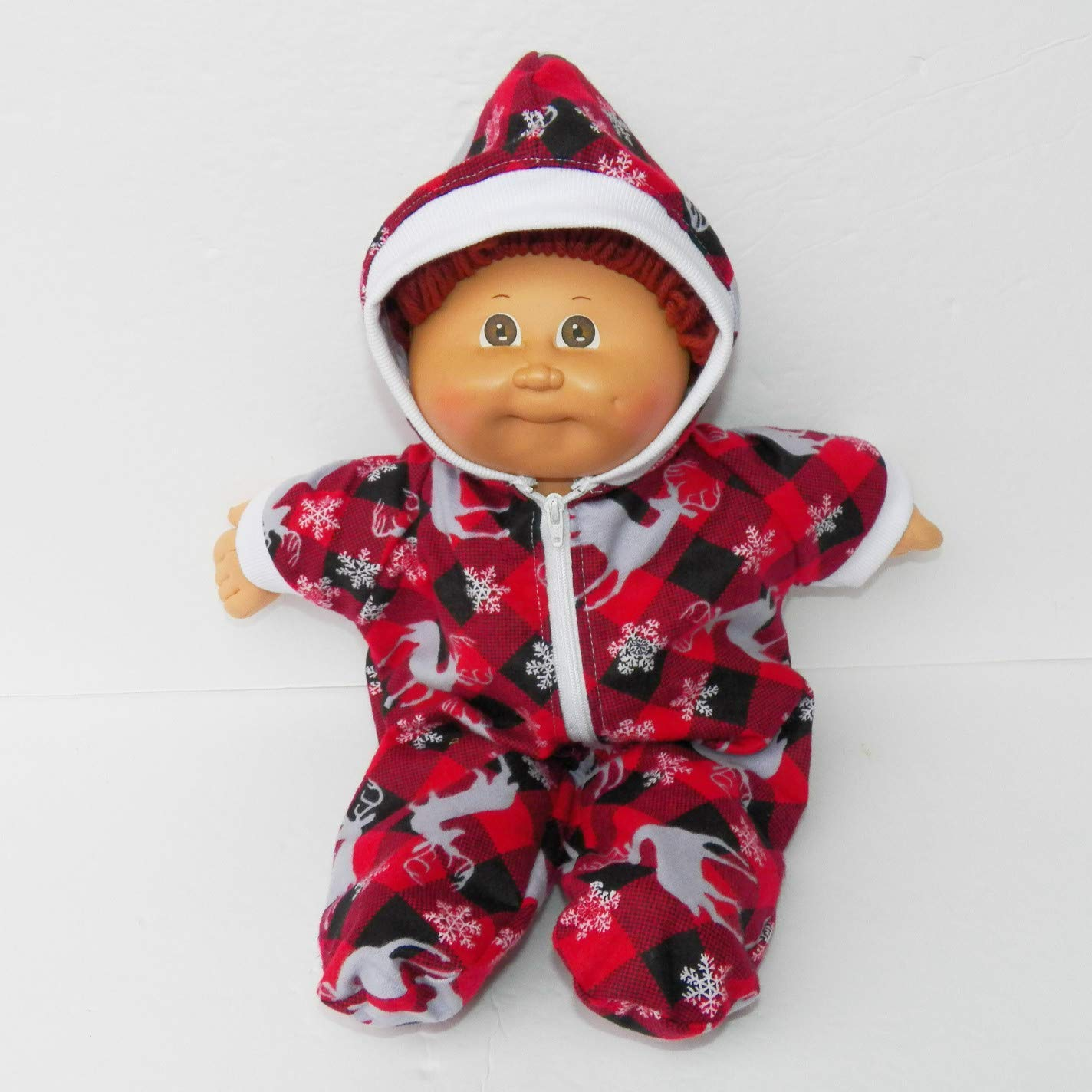 Cabbage Patch Doll Clothes Christmas Boy Red Buffalo Check Deer Hooded Pajamas 16 Inch