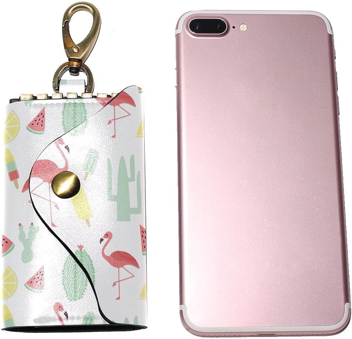 DEYYA Tropical Flamingo Leather Key Case Wallets Unisex Keychain Key Holder with 6 Hooks Snap Closure