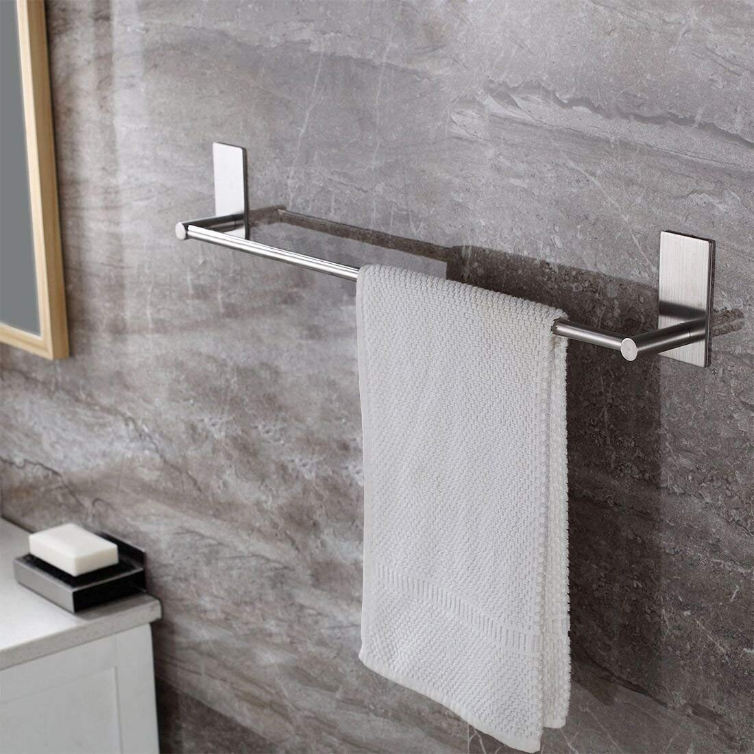 Taozun Towel Bar Self Adhesive 21.65-Inch Bathroom Brushed SUS 304 Stainless Steel Bath Wall Shelf Rack Hanging Towel Stick On Sticky Hanger Contemporary Style by Taozun