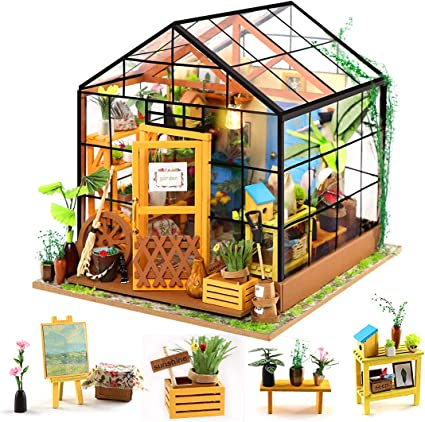 1//24 Dollhouse 3D Wooden Room Kit Miniature Greenhouse House to Build Gifts