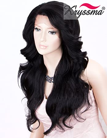 K ryssma Bkack Lace Front Wigs for Women Natural Wavy L Part Synthetic Wig  Medium Length  1B 2d63ccd0f2