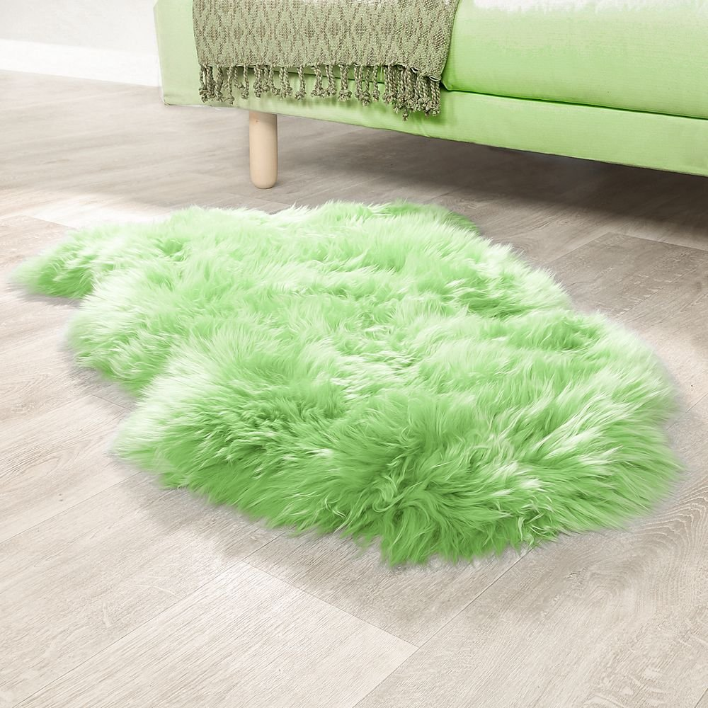 Paco Home Australisches Lammfell Naturfell Bettvorleger Echtes Schaffell In Apfel Grün, Grösse 100x68 cm