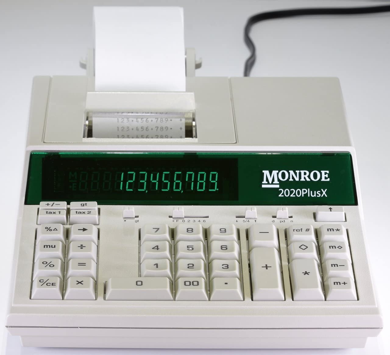 (1) Monroe 2020PlusX 12-Digit Medium-Duty Color Printing Calculator in Ivory