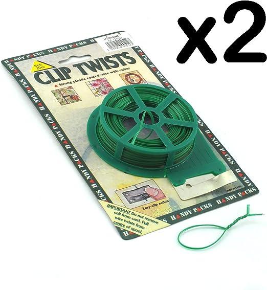 20 m de alambre de jardín Clip de la torcedura con Cutter, Pack de 2: Amazon.es: Hogar