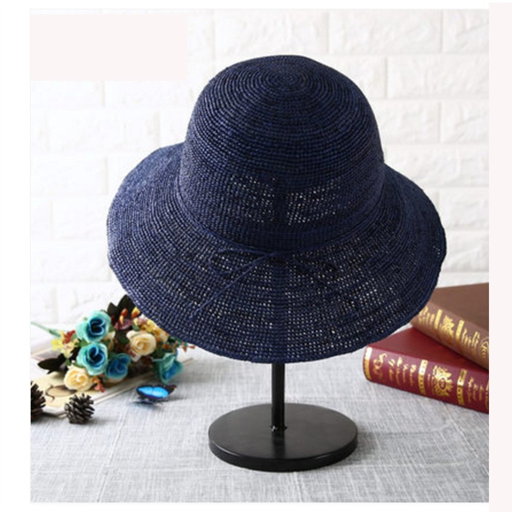 Navy bluee NAN Liang Straw Hat Female Summer Korean Sunscreen Straw Hat Big Beach Hat Travel Sunscreen Shopping Straw Hat Beige Dark Red Navy bluee (color   Beige)