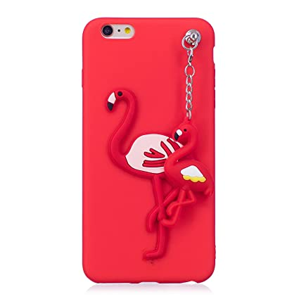 Funda iPhone 6 Plus, Carcasa iPhone 6S Plus, Funluna 3D Flamenco Patrón con Colgante Cover Ultra Delgado Suave Silicona TPU Goma Flexible Carcasa ...