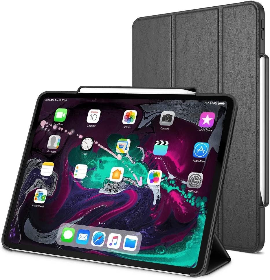 Trianium iPad Pro 12.9 Inch Case, Compatible iPad 12.9 2018 3rd Release (Holder Support Apple Pencil Charging) Heavy Duty Full-Body Rugged Protective Cover Smart Foldable Stand/Auto Wake/Sleep Design