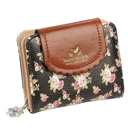 Amazon.com: polytree Mujer, Diseño floral clásico piel ...