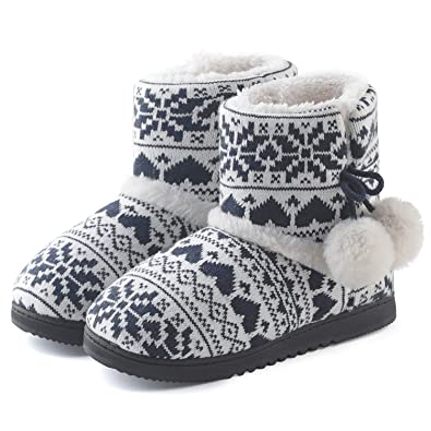 997cc30e07f720 ChicNChic Women Cozy Plush Fleece Bootie Slippers Winter Indoor Outdoor House  Shoes (6-6.5