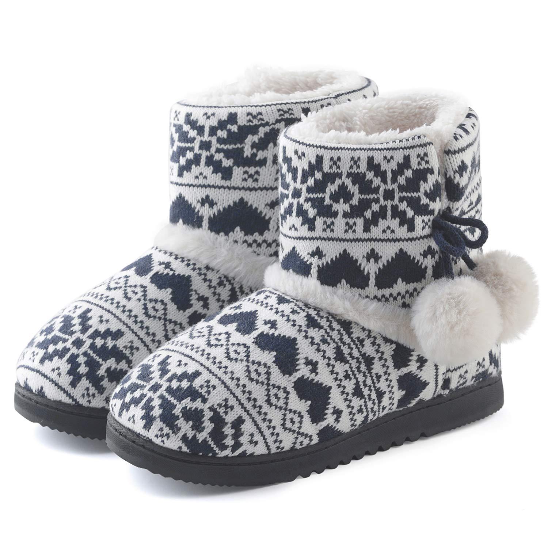 ChicNChic Women Cozy Plush Fleece Bootie Slippers Winter Indoor Outdoor House Shoes (7-7.5 B(M) US, Black)