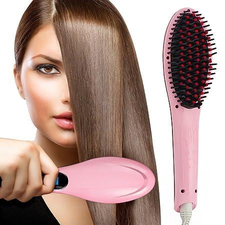 Cepillo alisador de pelo alisado, con tecnología iónica, pantalla digital LED, de cerámica, con de roble, para el cuidado del cabello, de calentamiento ...