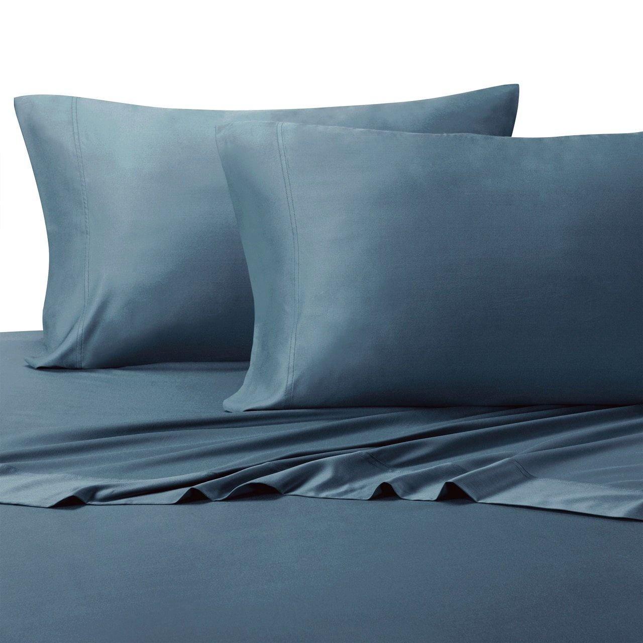 Linenwalas Bamboo Sheets Queen - Softest And Thermal Regulating Sheets - Anti Bacterial Bed Sheet Set - 100 % Natural Bamboo (Queen, Bahamas Blue)