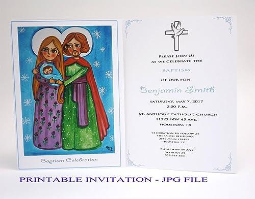 Amazon Com Holy Family Christening Invites Girl Baptism