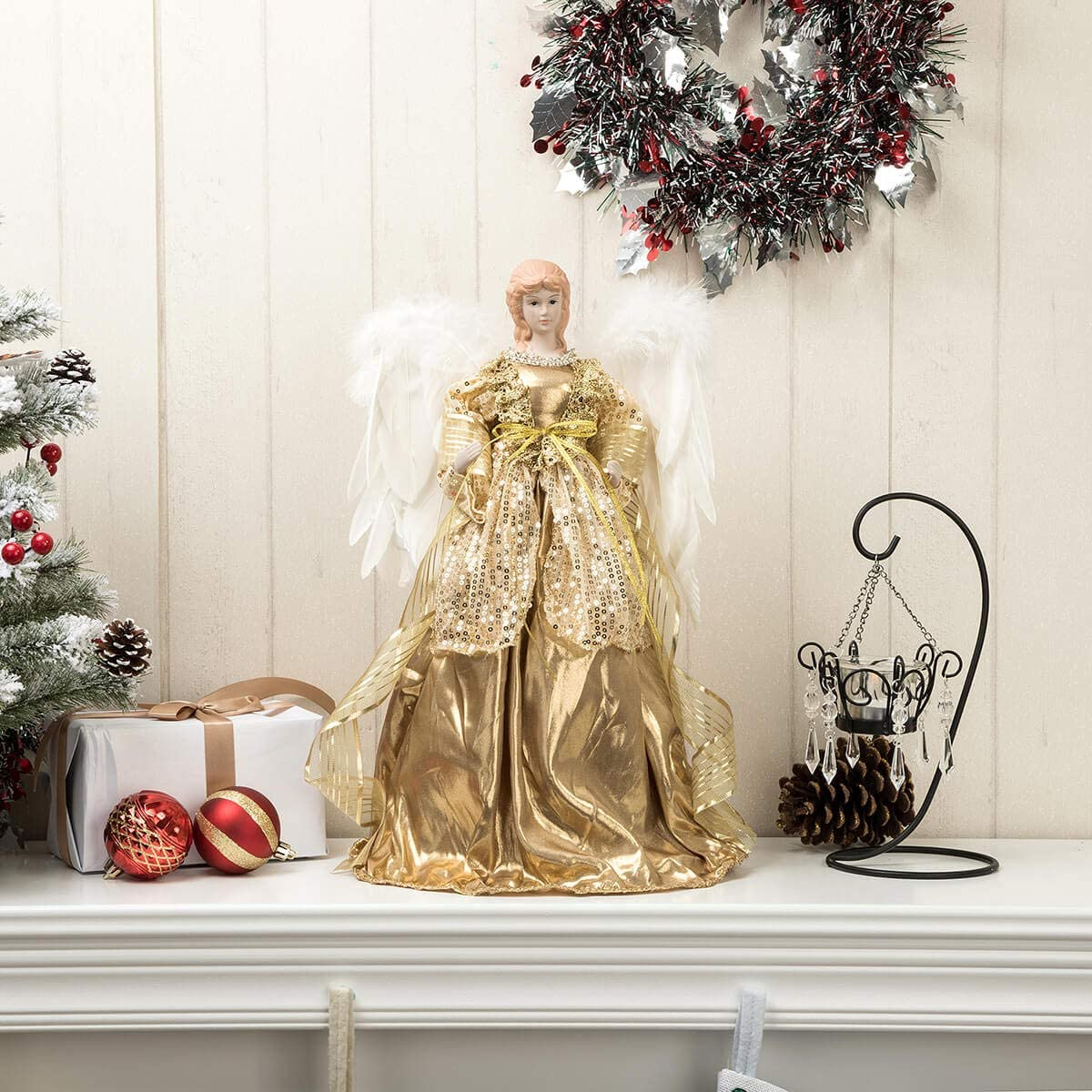 Amazon Com Arcci Christmas Angel Tree Topper 16 Inch White Feather Wings Tabletop Angel With Golden Dress Home Holiday Ornaments Home Kitchen
