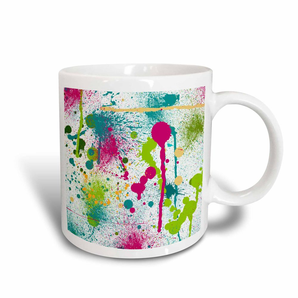 3dRose 32523/_3 Funky Paint Splatters Mug 11 oz Multicolor mug/_32523/_3