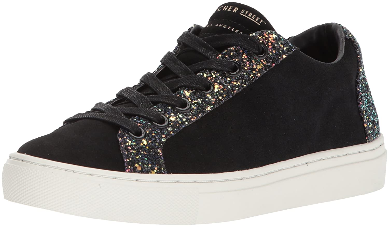 Skechers Women's Side Street-Glitter Star Cut Out Sneaker B0742SZF5W 9 B(M) US|Black