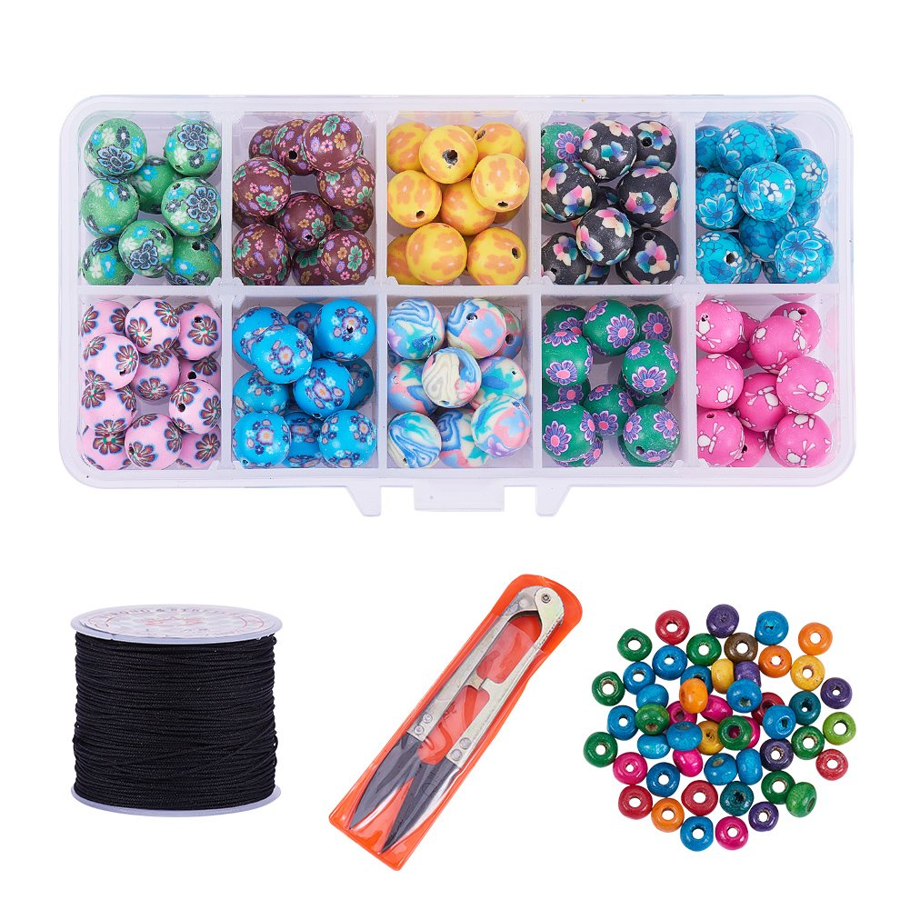 PH PandaHall Colorful Flower Pattern Clay Round Loose Beads Oval Wood Beads with Scissors Nylon Thread Cord for DIY Jewelry Making