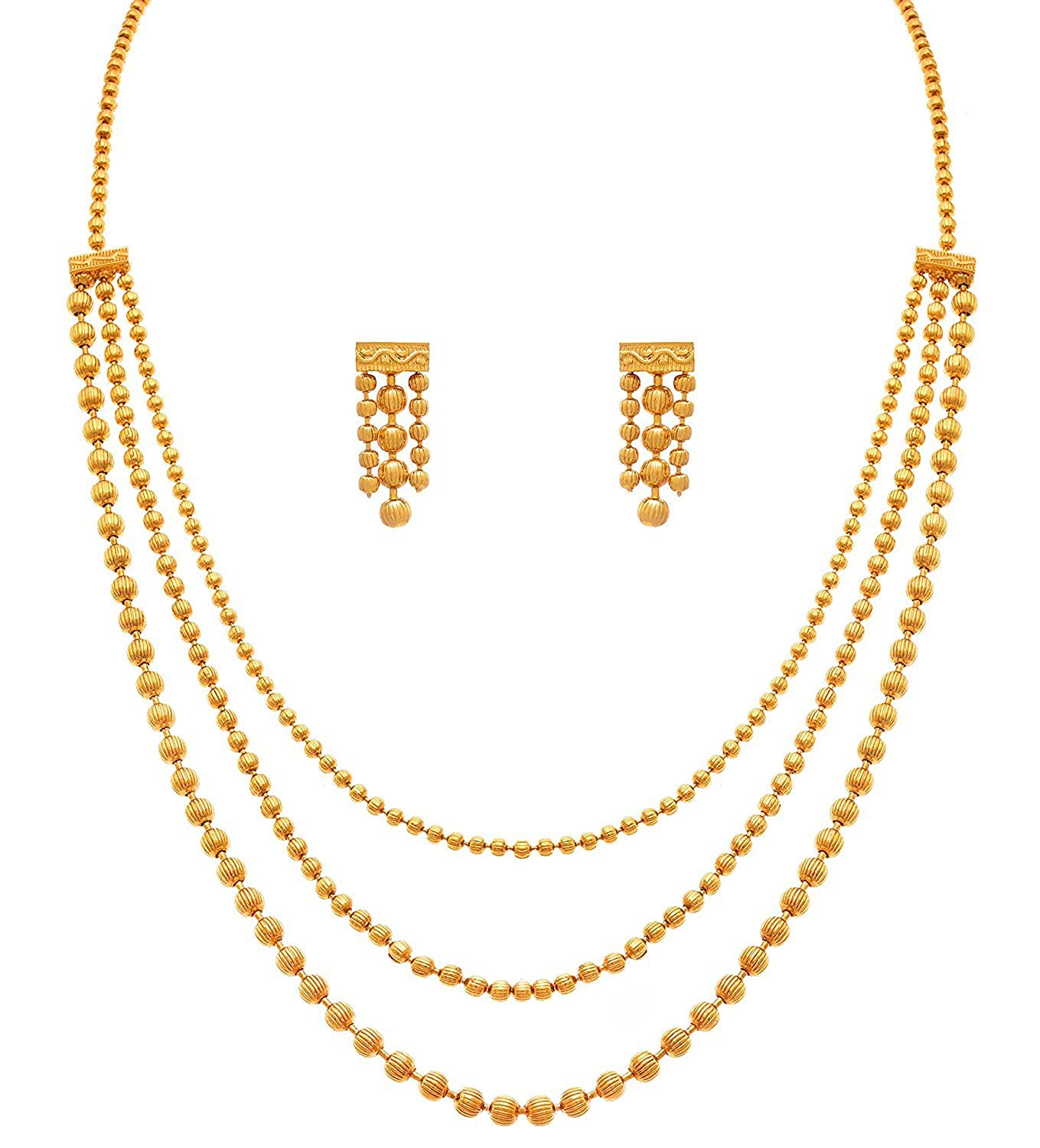 Buy I Jewels Gold Plated Multi Strands Necklace With Earrings Set ...