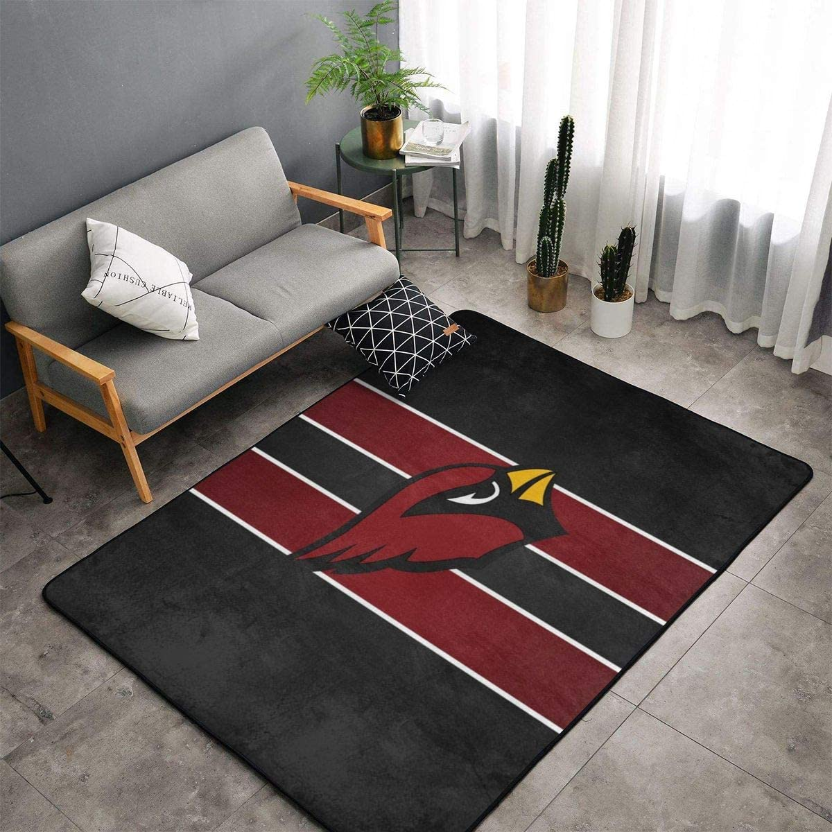 MOOPZEEA Arizona Cardinals Flag Ultra Soft Carpet Indoor Non Slip Area Rugs Home Office Cafe Carpets Suitable for Children Living Room Bedroom Home Bar Rugs