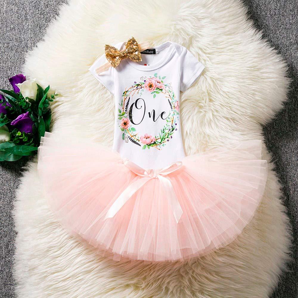 ❤️ Mealeaf ❤️ Baby/Girl Birthday Floral Letter Print Tutu Skirts+Jumpsuit+Headband Set Outfits(3-12M) Pink, Free Size