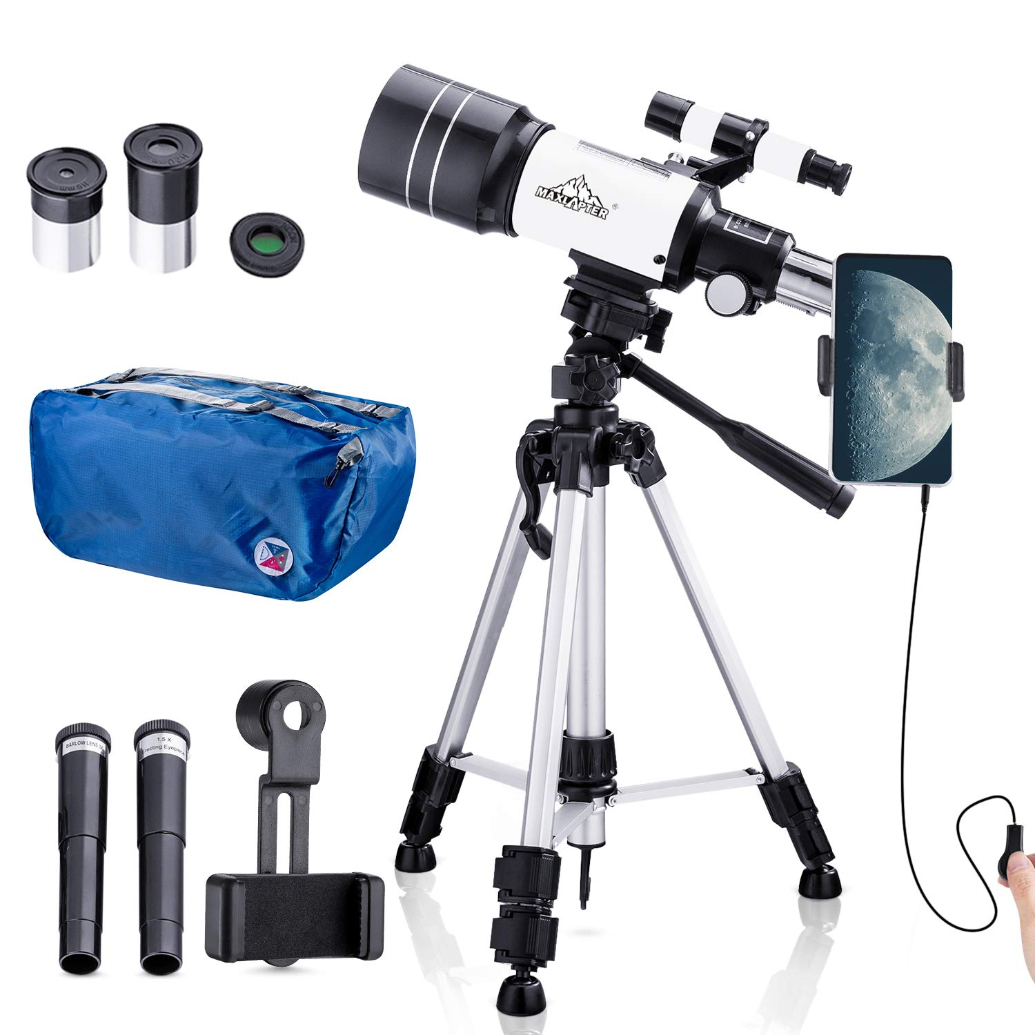 Telescope for Kids Beginners,150X Astronomy Monocular Telescopes 300/70mm with Phone Adapter, Camera Wire Shutter, Moon Filter and Backpack- Adjustable Tall Tripod by MAXLAPTER