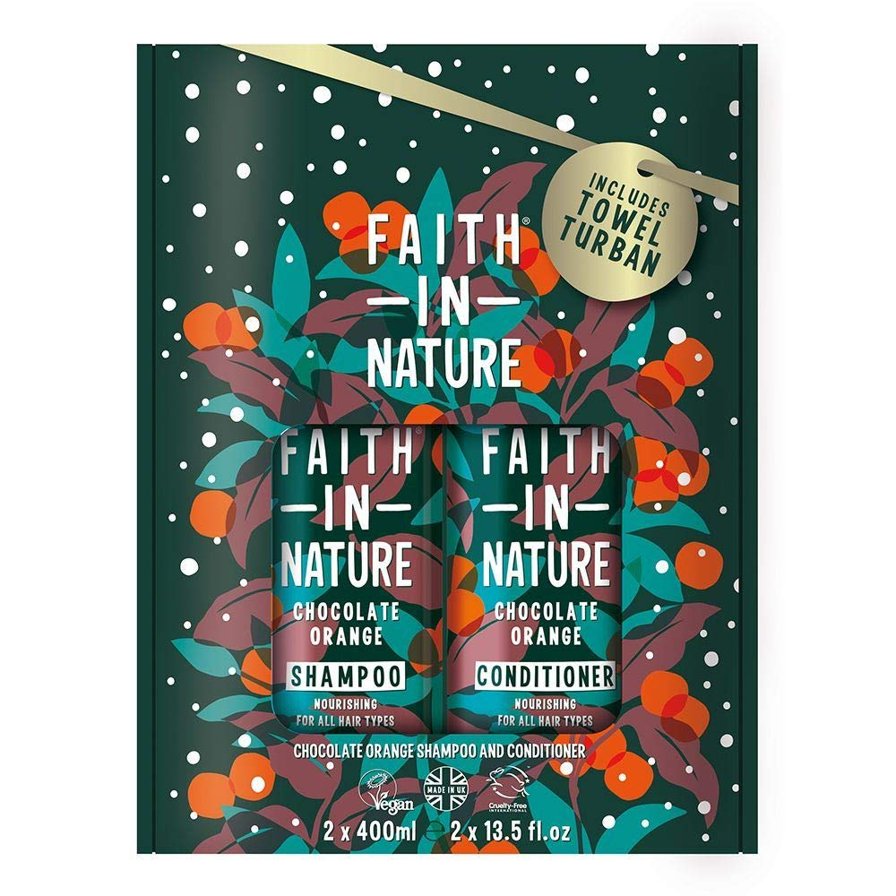 Faith In Nature Chocolate Orange Shampoo and Conditioner Set 2 x 400ml. Moisturises, Hydrates and Conditions Hair, Includes Hair Towel. | Hair Shampoo & Hair Conditioner Towel Set