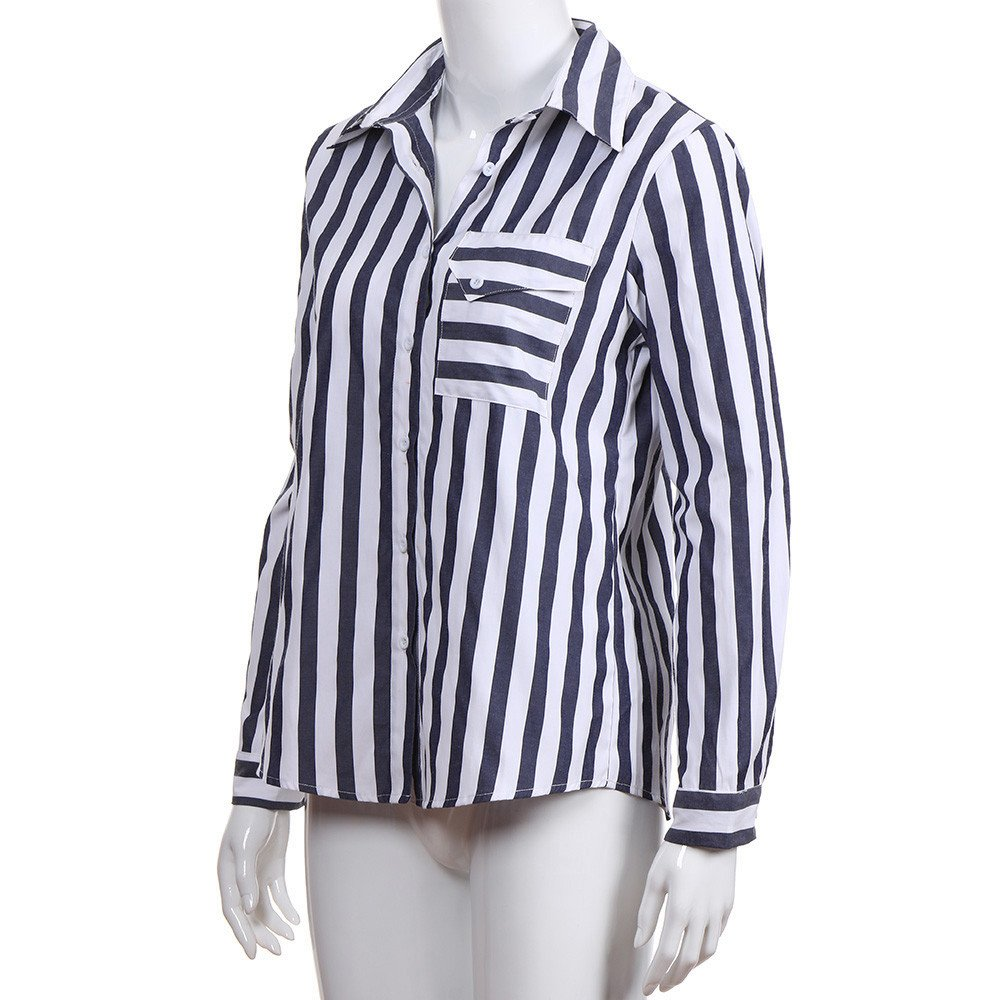 OrchidAmor Women with Pocket Striped Casual Top T Shirt Ladies Loose Long Sleeve Top Blouse at Amazon Womens Clothing store: