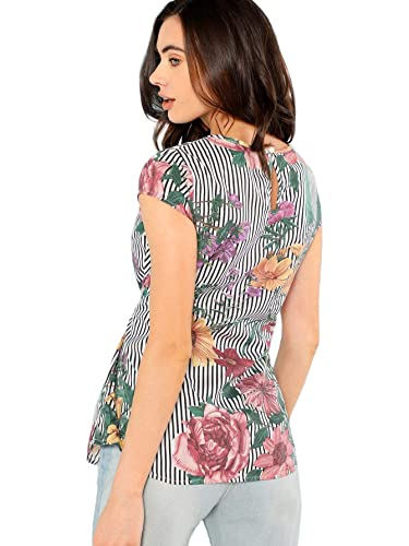 aae58e55b730 SheIn Women's Tie Waist Knot Summer Floral Print Short Sleeve Striped Top  Blouse at Amazon Women's Clothing store: