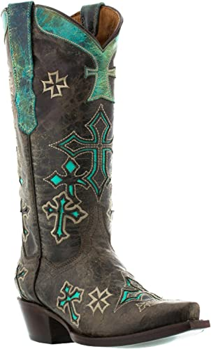 Brown And Teal Womens Cowboy Boots