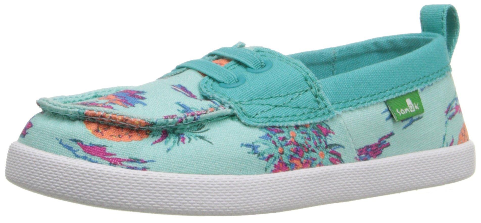 Sanuk Kids Sailaway Mate-K Boat Shoe (Toddler/Little Kid), Turquoise/Pineapples, 8 M US Toddler