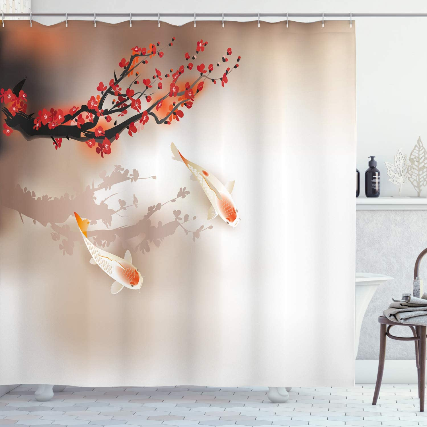 """Lunarable Koi Fish Shower Curtain, Sakura Branch and Leaves Animals in Small Body of Water Oriental Style, Cloth Fabric Bathroom Decor Set with Hooks, 70"""" Long, Peach Black Red"""