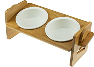 Greatest Pet Shop Crisscross Anti Slip Bamboo Adjustable Tray with Elevated Double Food and Water Detachable Ceramic Bowls for Dogs and Cats