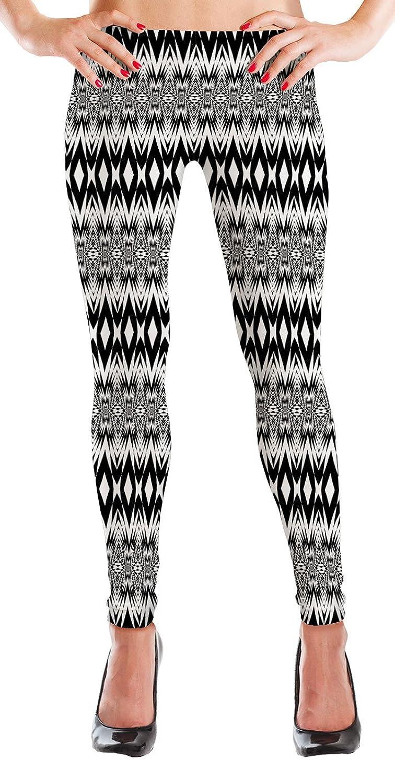 47b17e17f104 durable service MyLeggings Buttersoft Printed Leggings Black and White  Aztec Diamond