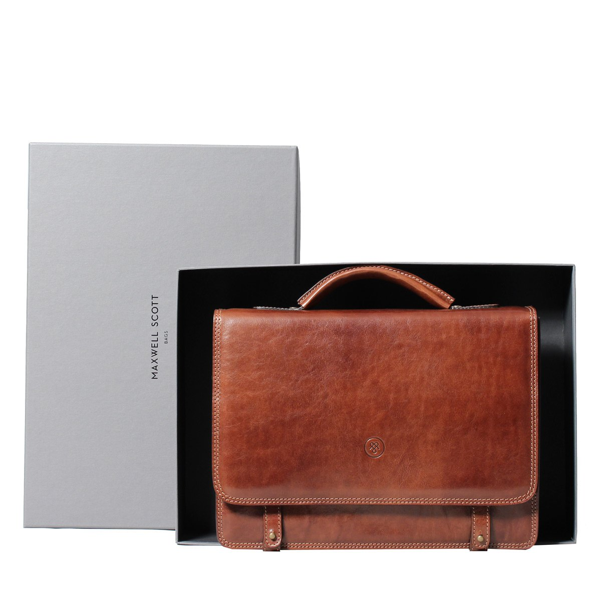 Maxwell Scott Personalized Luxury Tan Mens Leather Satchels (The Battista) - One Size by Maxwell Scott Bags (Image #8)