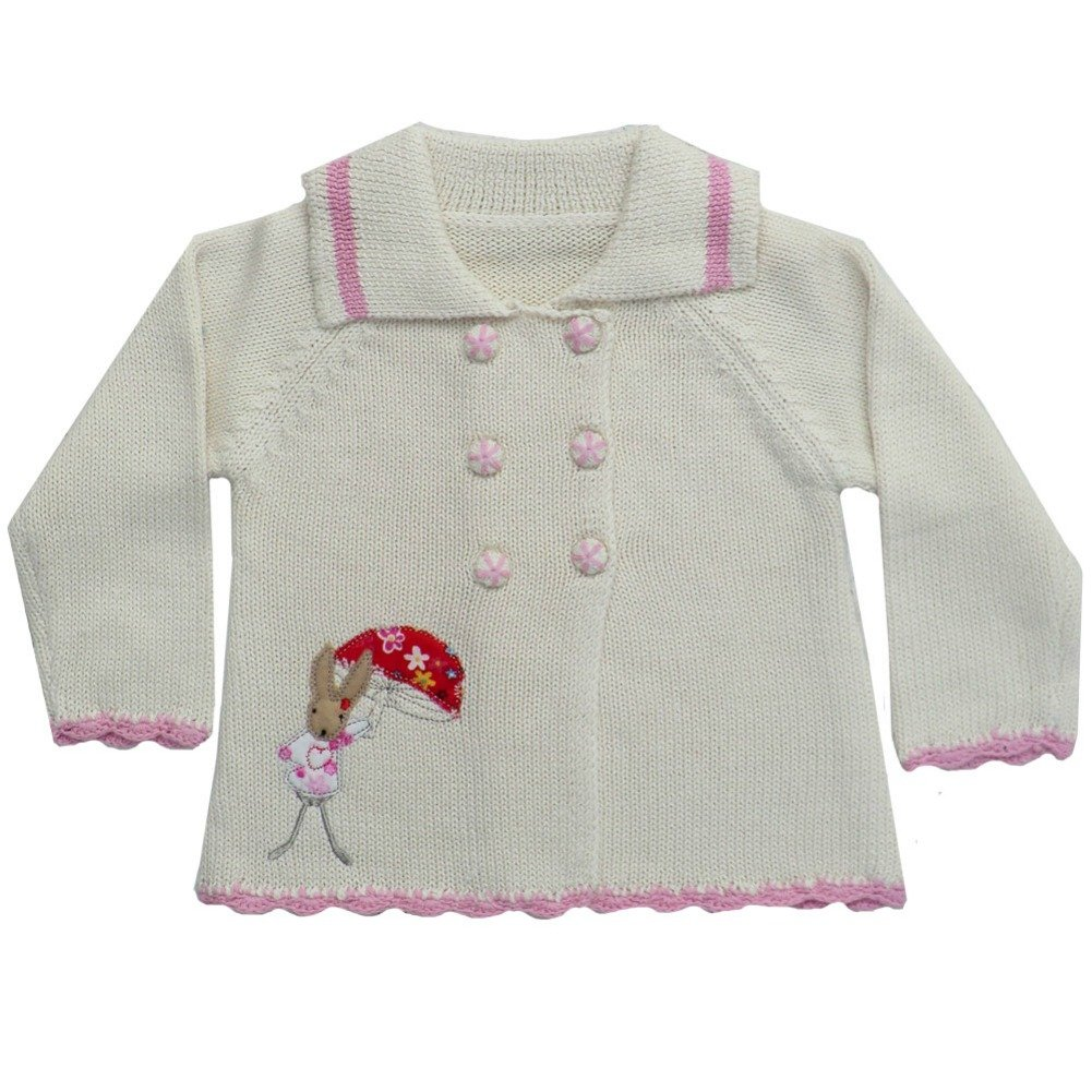 Powell Craft Rabbit Embroidered Cardigan. 100% Cotton 0-2 Years.