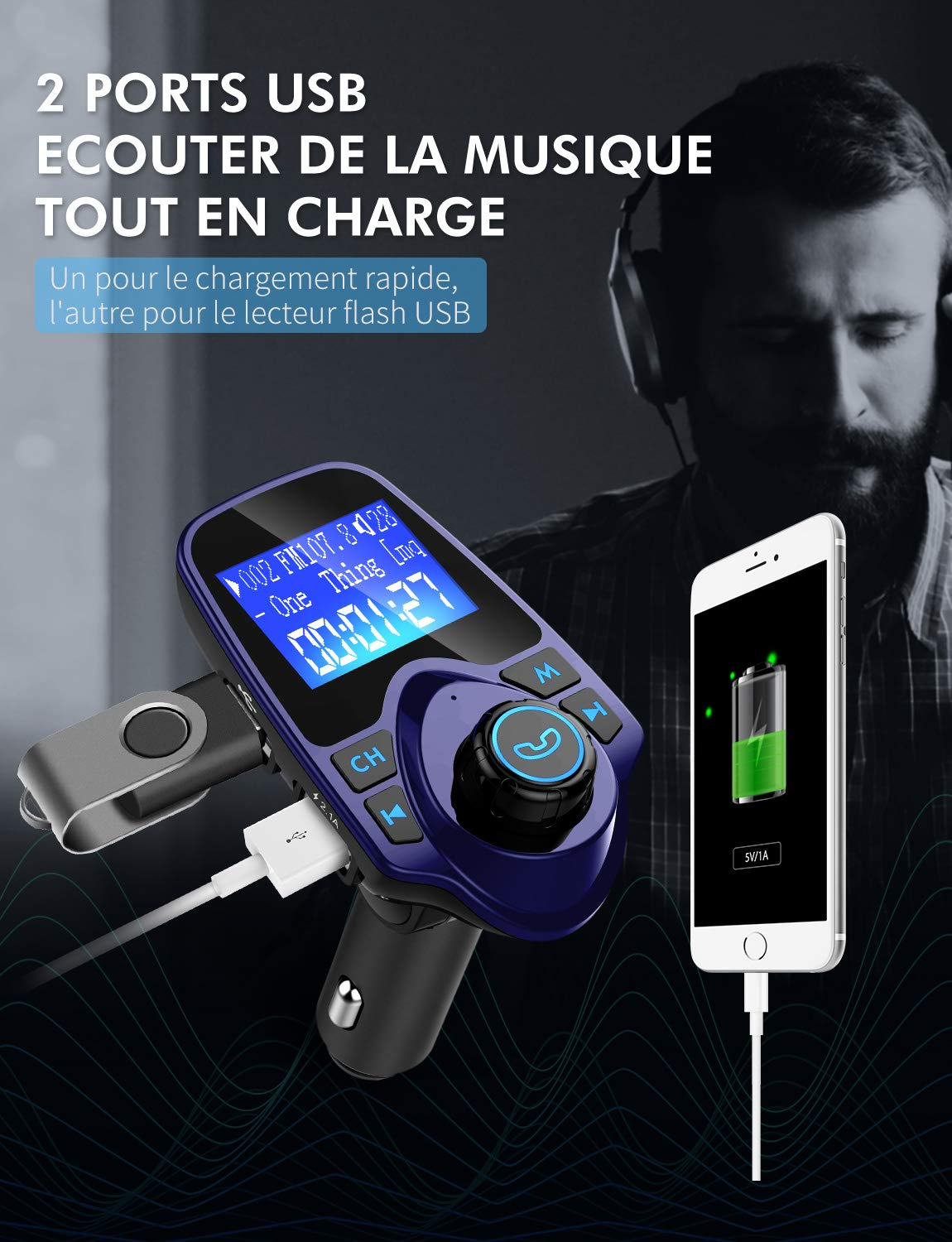 Cl/é USB Mpow Transmetteur FM Bluetooth Adaptateur Bluetooth Autoradio Kit Main Libre Voiture sans Fil Chargeur Allume Cigare Double Port USB Ecran de 1.44 Audio Port 3,5mm Support Carte TF