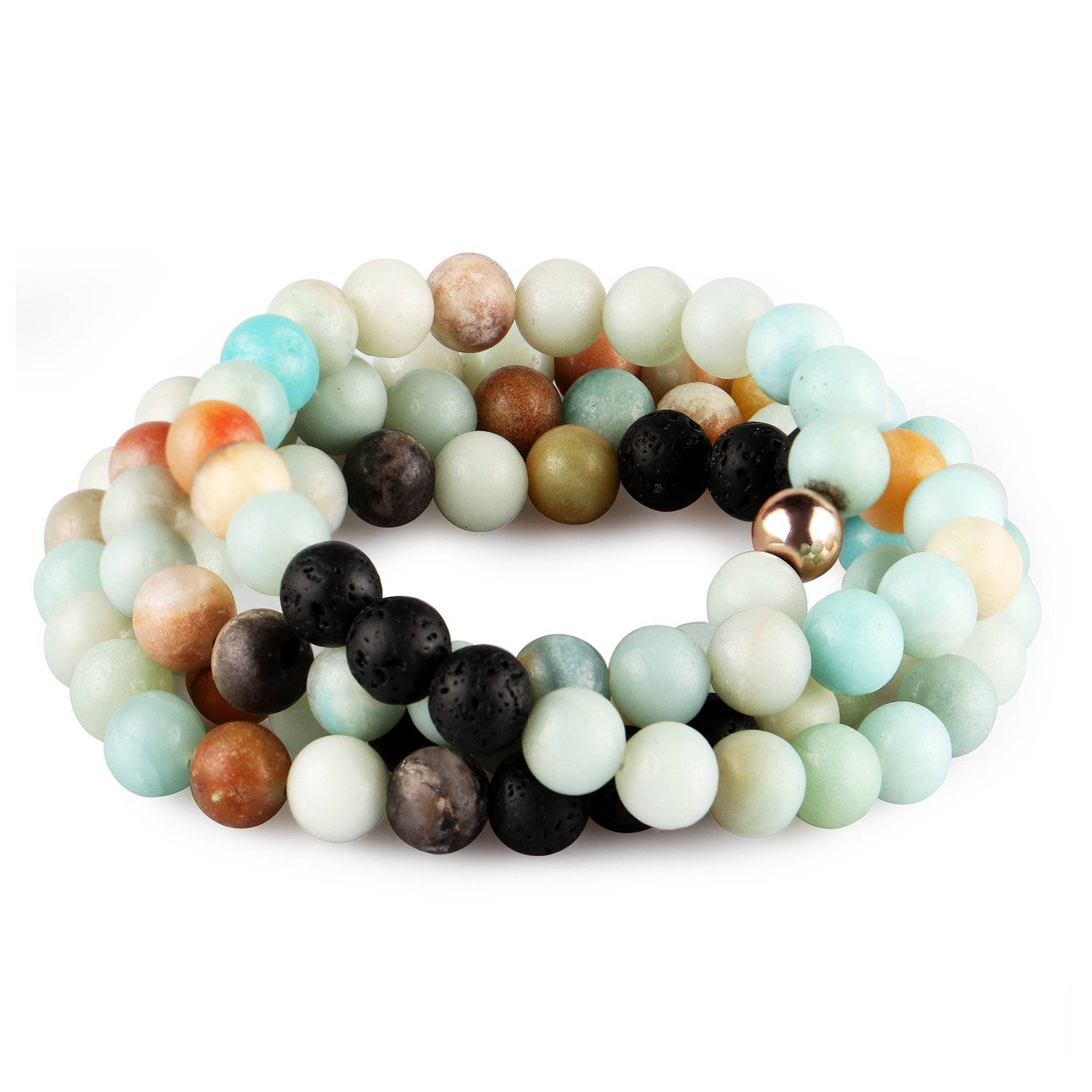 VAMEI Amazonite Bracelet Necklace Chakra Essential Oil Diffuser Aromatherapy Bracelet Handmade Natural Lava Stone Beads Necklace Bracelets Gifts for Girls Women