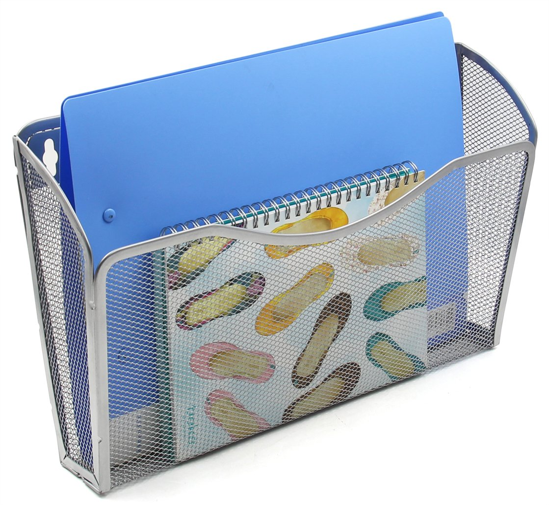 EasyPAG Mesh Collection Wall File Pocket Holder Organizer Metal for Office, 3 Pack,Silver by EasyPag (Image #2)