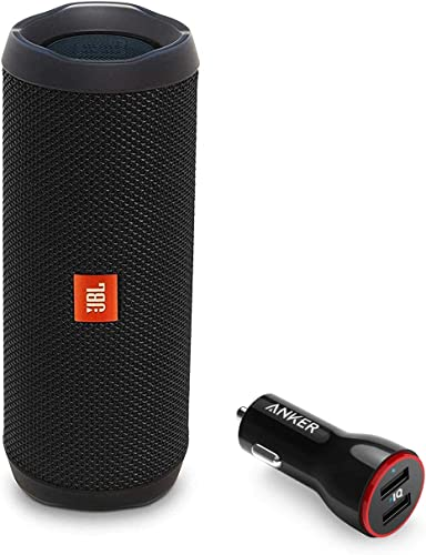 JBL Flip 4 Portable Bluetooth Wireless Speaker Bundle with Anker PowerDrive 2 2-Port USB Car Charger – Black
